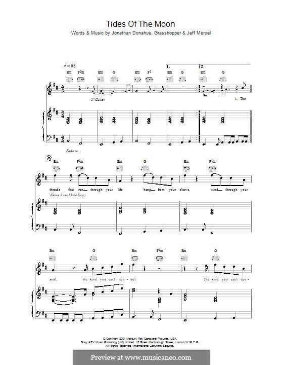 Tides of the Moon (Mercury Rev): Für Stimme und Klavier (oder Gitarre) by Jonathan Donahue