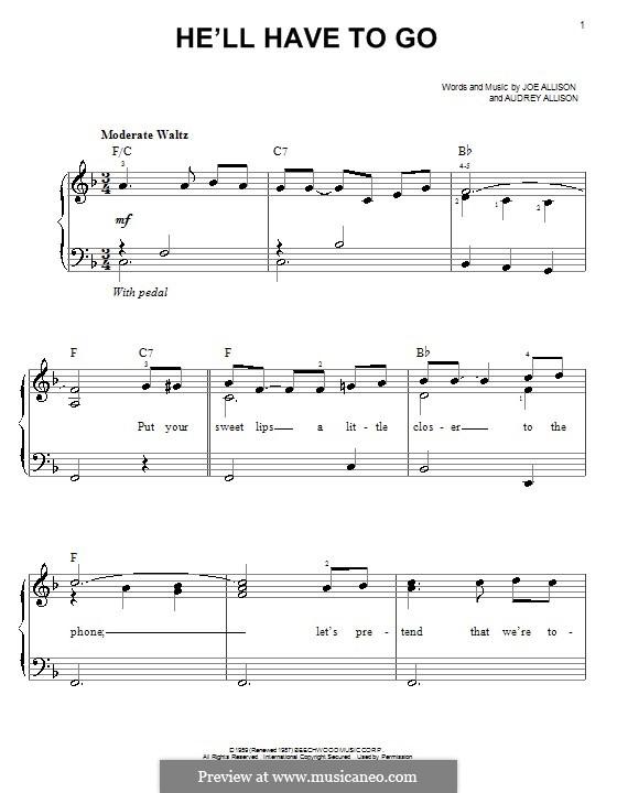 He'll Have To Go (Jim Reeves): Einfache Noten für Klavier by Audrey Allison, Joe Allison