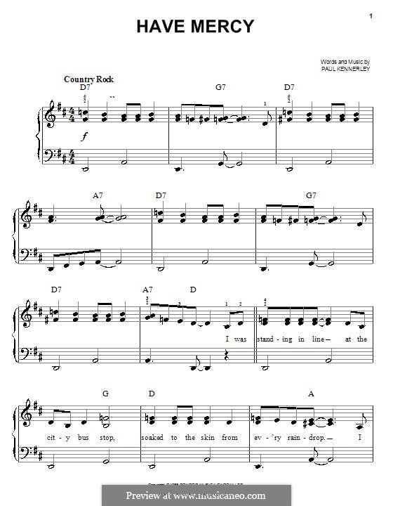 Have Mercy: Einfache Noten für Klavier by Paul Kennerley
