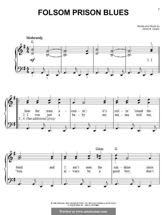 Folsom Prison Blues: Für Klavier, leicht by Johnny Cash