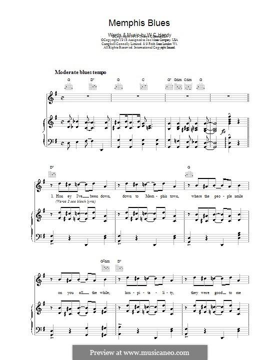 Memphis Blues: Für Stimme und Klavier (oder Gitarre) by William Christopher Handy