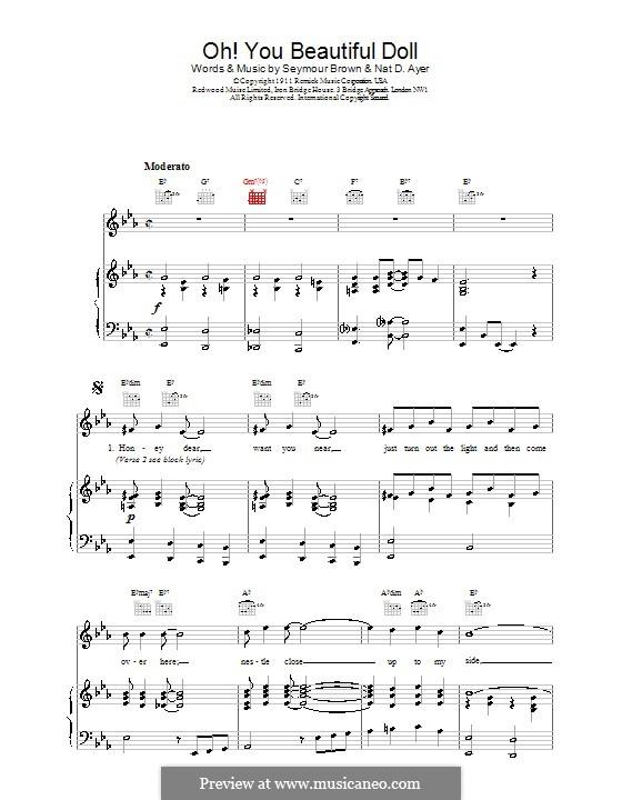 Oh! You Beautiful Doll: Für Stimme und Klavier (oder Gitarre) by Nat D. Ayer, Seymour Brown