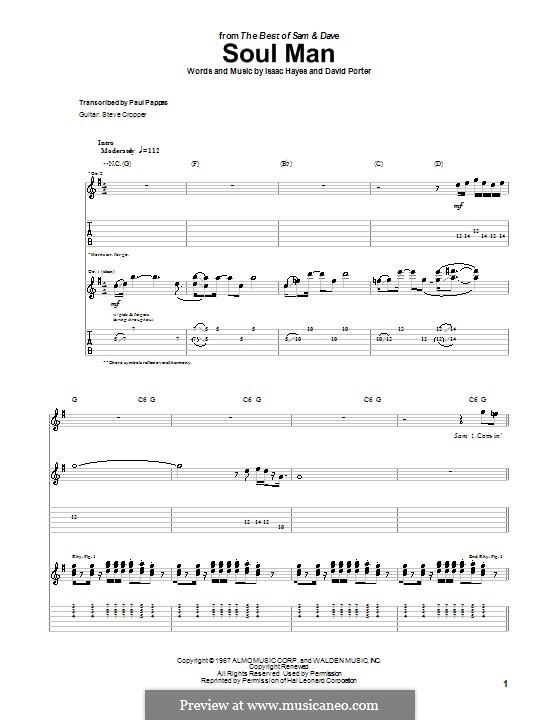Soul Man (Sam & Dave): Für Gitarre mit Tabulatur by David Porter, Isaac Hayes