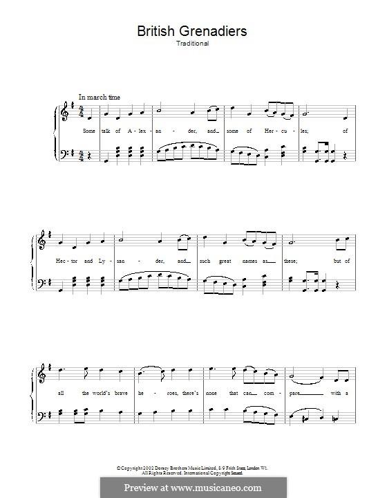 British Grenadiers: Für Stimme und Klavier (oder Gitarre) by folklore