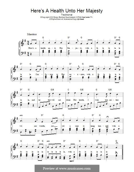 Here's a Health Unto Her Majesty: Für Stimme und Klavier (oder Gitarre) by folklore