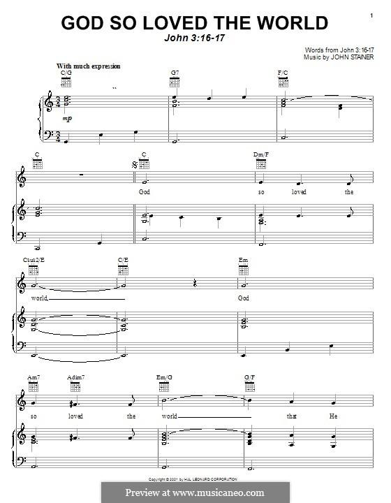 God so loved the world: Für Stimme und Klavier (oder Gitarre) by John Stainer