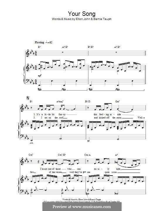 Your Song: Für Stimme und Klavier by Elton John