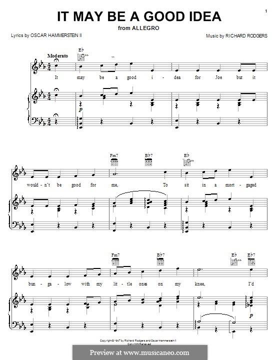 It May Be a Good Idea (from Allegro): Für Stimme mit Klavier oder Gitarre by Richard Rodgers