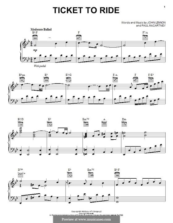 Ticket to Ride (The Beatles): Für Stimme mit Klavier oder Gitarre by John Lennon, Paul McCartney