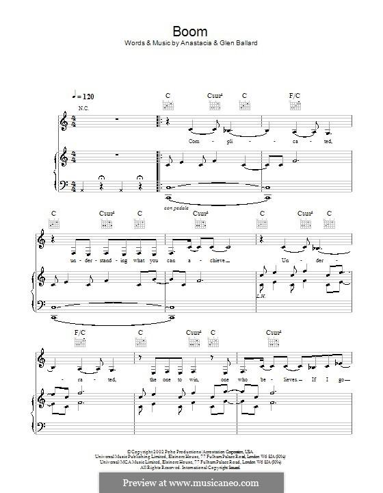 Boom (Anastacia): Für Stimme und Klavier (oder Gitarre) by Glen Ballard