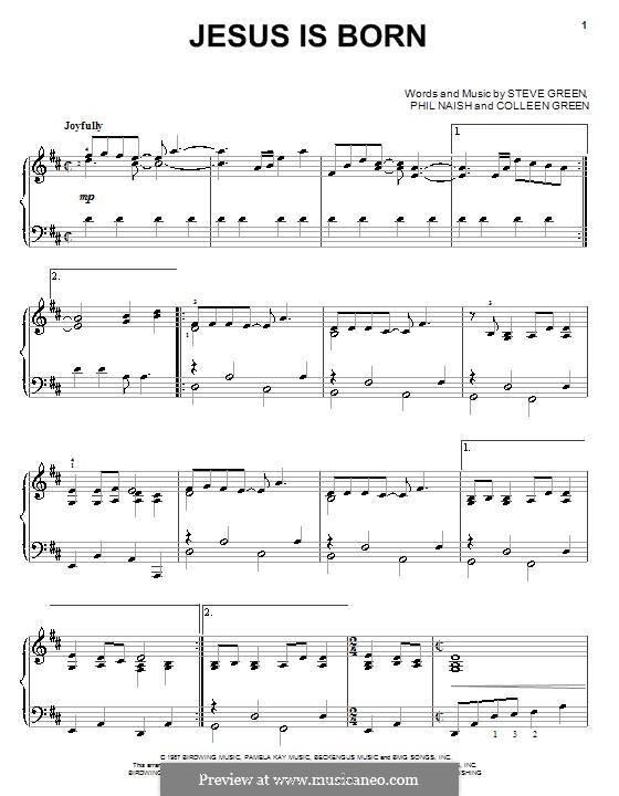 Jesus Is Born (Steve Green): Für Klavier by Colleen Green, Phil Naish