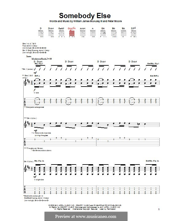 Somebody Else (from Spider-Man): For guitar with tab (Bleu) by Peter Moore, William James McAuley III
