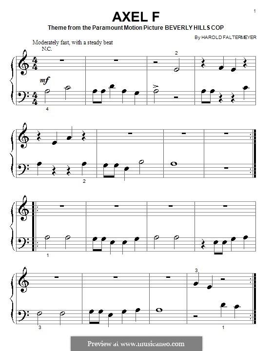 Axel F (from Beverley Hills Cop): Für Klavier (sehr leichte Fassung) by Harold Faltermeyer