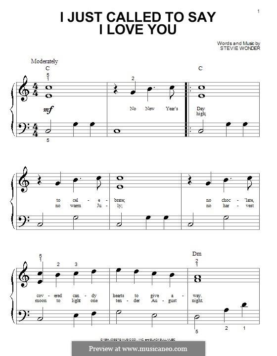 I Just Called to Say I Love You: Für Klavier (sehr leichte Fassung) by Stevie Wonder