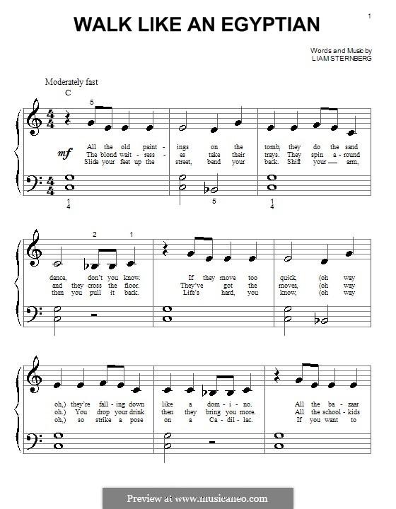 Walk Like an Egyptian (The Bangles): Für Klavier (sehr leichte Fassung) by Liam Sternberg