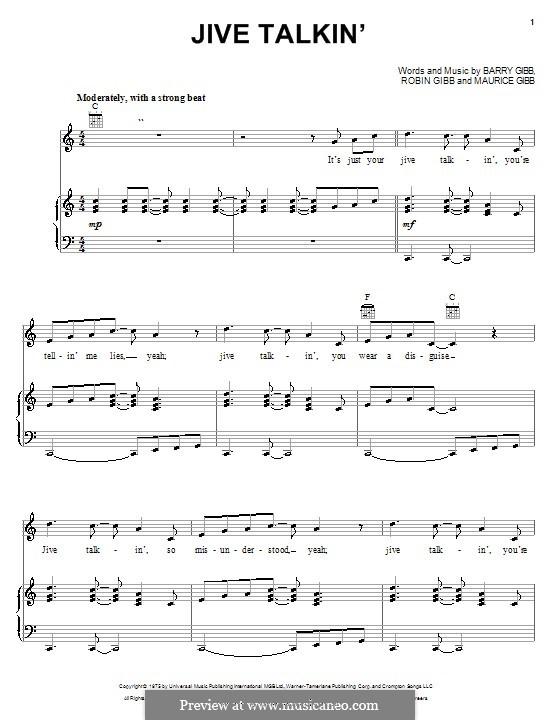 Jive Talkin' (The Bee Gees): Für Stimme und Klavier (oder Gitarre) by Barry Gibb, Maurice Gibb, Robin Gibb