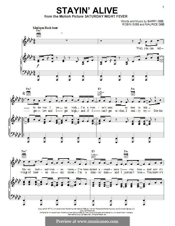 Stayin' Alive (The Bee Gees): Für Stimme und Klavier (oder Gitarre) by Barry Gibb, Maurice Gibb, Robin Gibb