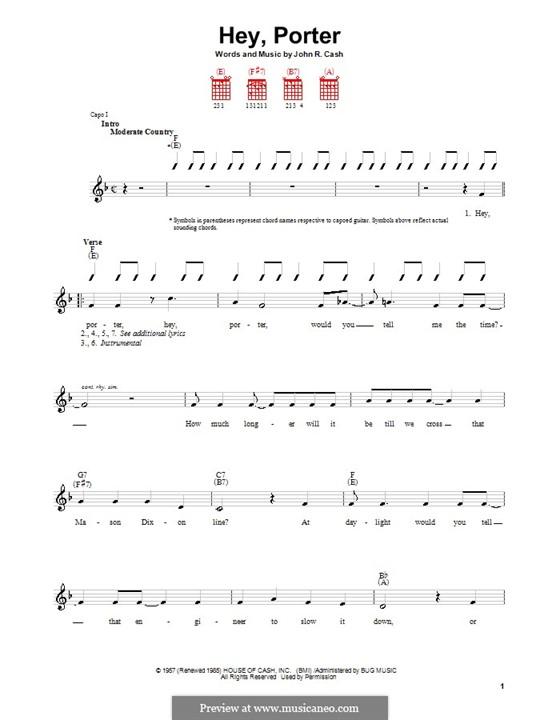 Hey, Porter: Für Gitarre (mit Schlagmuster) by Johnny Cash