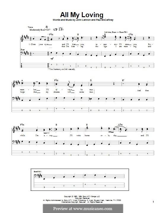 All My Loving (for guitar or piano): Für Bassgitarre mit Tabulatur by John Lennon, Paul McCartney
