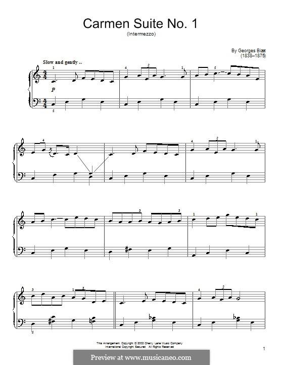 Erste Suite: Nr.3 Intermezzo, für Klavier by Georges Bizet