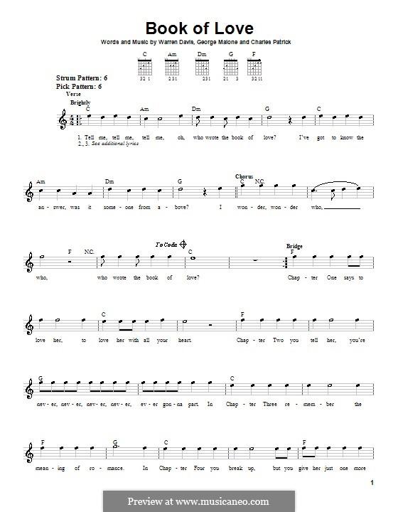 Book of Love (The Monotones): Für Gitarre (Sehr leichte Fassung) by Charles Patrick, George Malone, Warren Davis