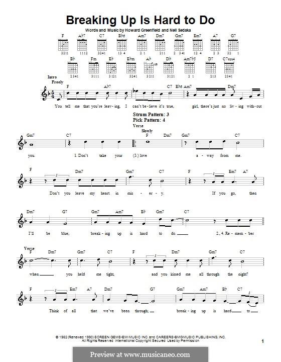 Breaking Up Is Hard To Do: Für Gitarre (Sehr leichte Fassung) by Howard Greenfield