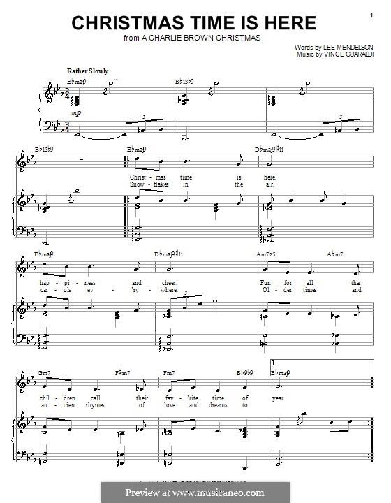 Christmas Time is Here: Für Stimme und Klavier (oder Gitarre) by Vince Guaraldi