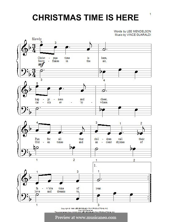 Christmas Time is Here (from A Charlie Brown Christmas), for Piano: Sehr leichte Fassung by Vince Guaraldi