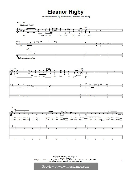 Eleanor Rigby (The Beatles): Für Bassgitarre mit Tabulatur by John Lennon, Paul McCartney