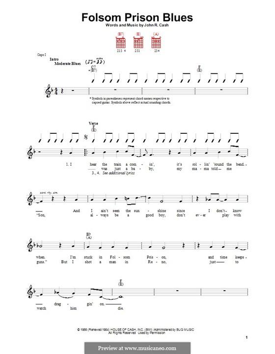 Folsom Prison Blues: Für Gitarre (mit Schlagmuster) by Johnny Cash