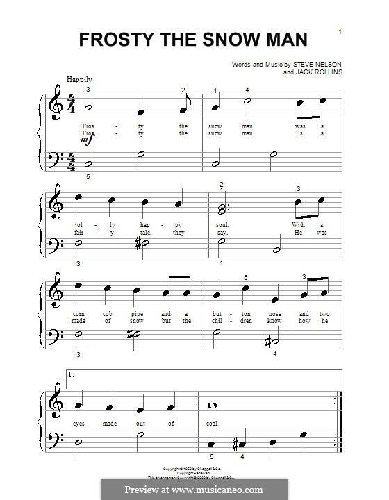 Frosty the Snow Man: Für Klavier (sehr leichte Fassung) by Jack Rollins, Steve Nelson