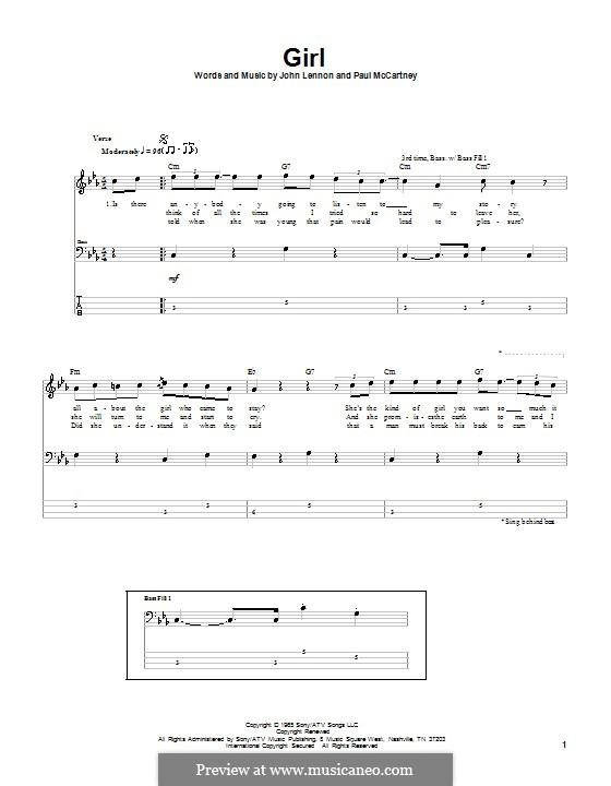 Girl (The Beatles): Für Bassgitarre mit Tabulatur by John Lennon, Paul McCartney