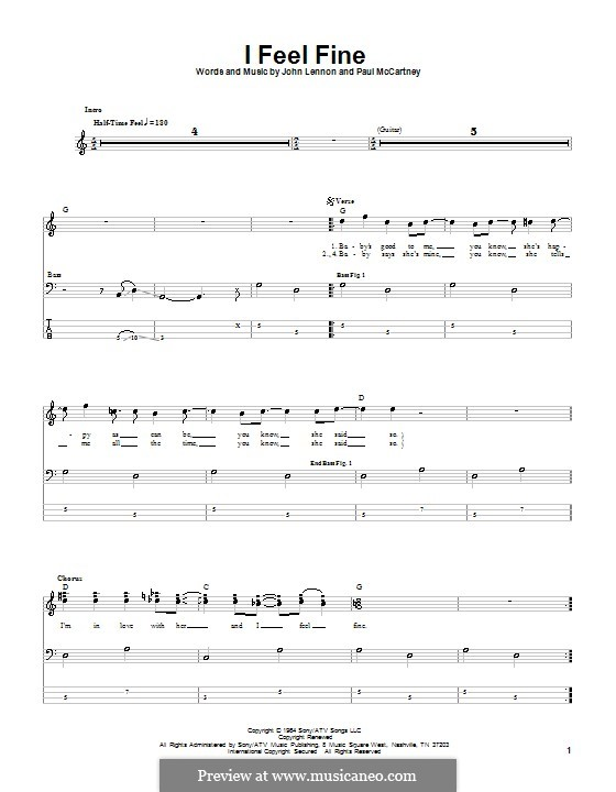 I Feel Fine (The Beatles): Für Bassgitarre mit Tabulatur by John Lennon, Paul McCartney