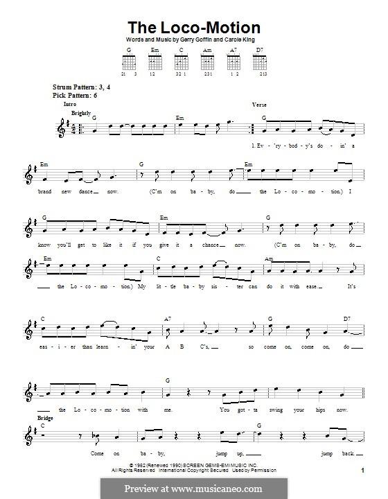 The Loco-Motion: Für Gitarre (leicht) (Grand Funk) by Carole King, Gerry Goffin