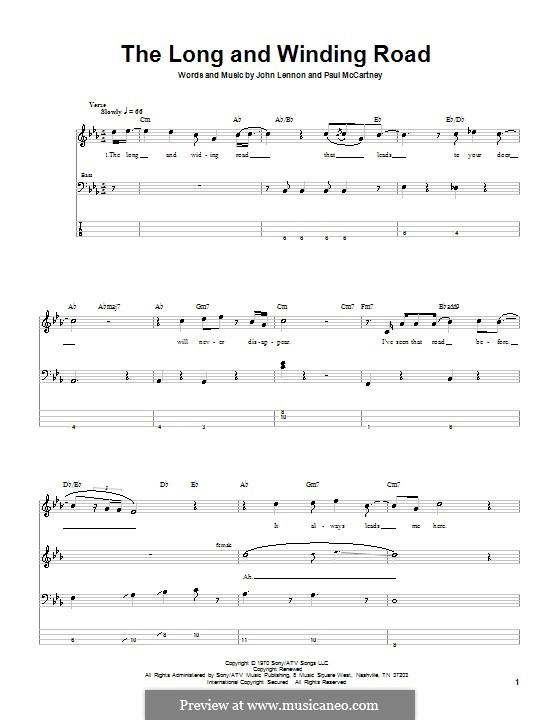 The Long and Winding Road (The Beatles): Für Bassgitarre mit Tabulatur by John Lennon, Paul McCartney