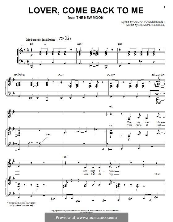 Lover, Come Back to Me (from New Moon): Für Stimme mit Klavier oder Gitarre by Sigmund Romberg