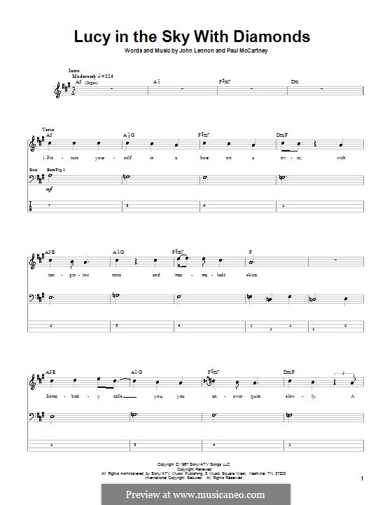 Lucy in the Sky with Diamonds (The Beatles): Für Bassgitarre mit Tabulatur by John Lennon, Paul McCartney