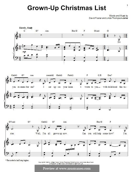 Grown-Up Christmas List: Für Stimme mit Klavier oder Gitarre (Barbra Streisand) by David Foster, Linda Thompson-Jenner