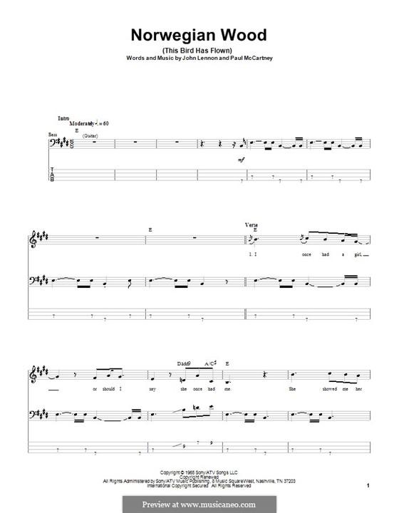 Norwegian Wood (This Bird Has Flown): Für Bassgitarre by John Lennon, Paul McCartney