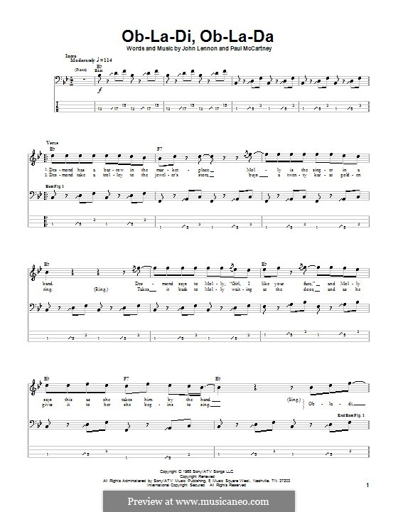 Ob-La-Di, Ob-La-Da (The Beatles), for One Instrument: Für Bassgitarre mit Tabulatur by John Lennon, Paul McCartney