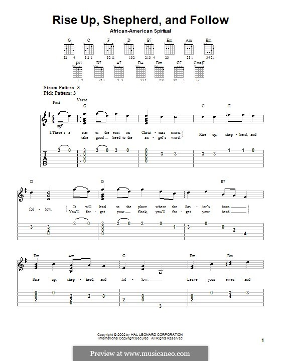 Rise Up, Shepherd, and Follow: Für Gitarre (Sehr leichte Fassung) by folklore