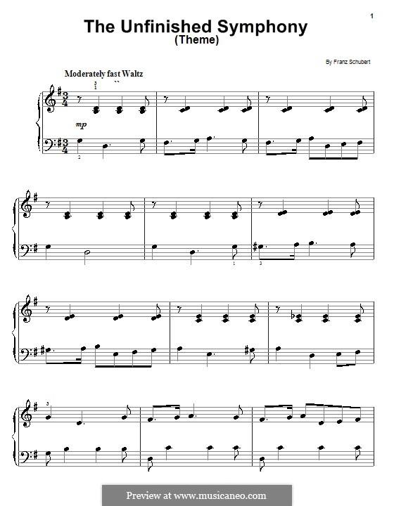 Sinfonie Nr.8 in h-Moll 'Unvollendete', D.759: Thema. Bearbeitung für Klavier (Sehr leichte Version) by Franz Schubert