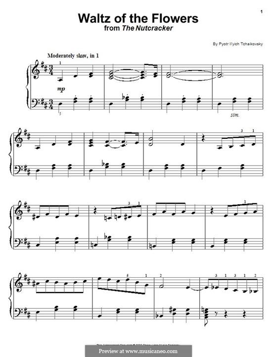 Nr.8 Blumenwalzer: Einfache Noten für Klavier by Pjotr Tschaikowski