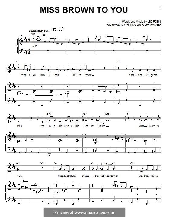 Miss Brown to You: Für Stimme und Klavier (oder Gitarre) by Richard A. Whiting, Ralph Rainger