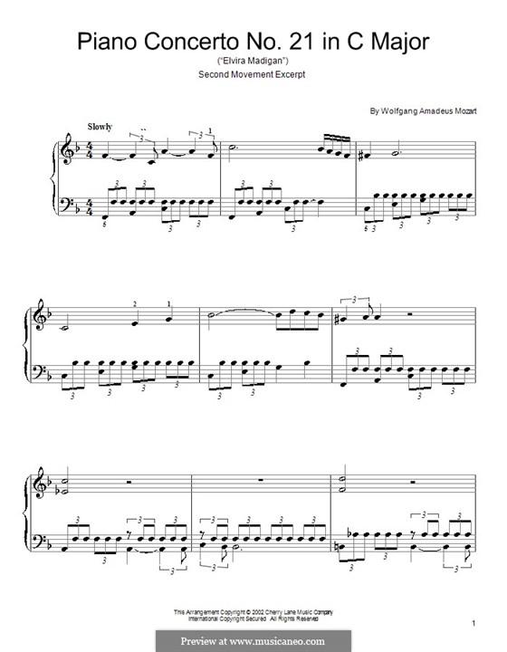 Konzert für Klavier und Orchester Nr.21 in C-Dur, K.467: Teil II (Fragment). Klavierversion für Anfänger by Wolfgang Amadeus Mozart