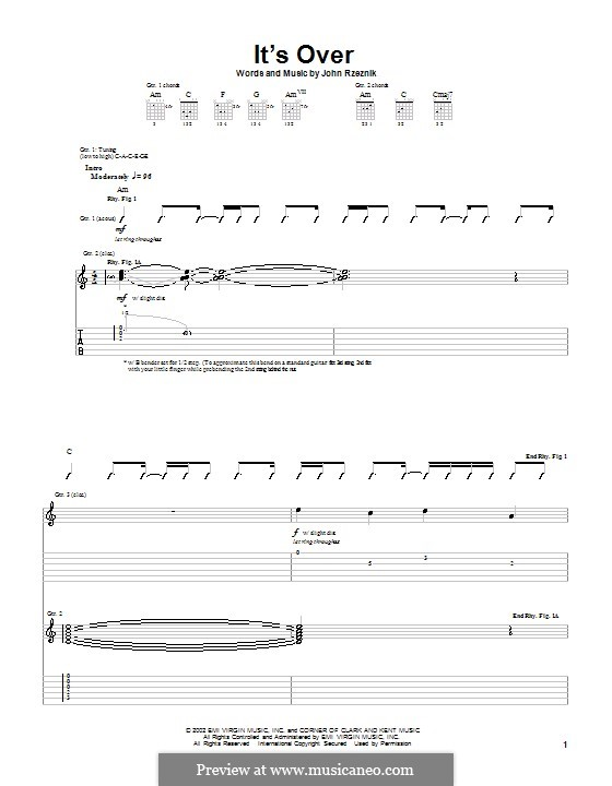 It's Over (Goo Goo Dolls): Für Gitarre mit Tab by John Rzeznik