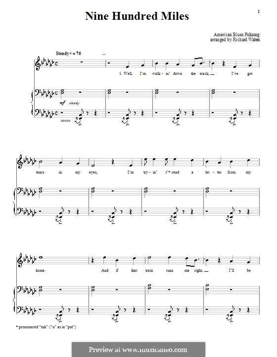 Nine Hundred Miles: Für Stimme und Klavier (oder Gitarre) by folklore