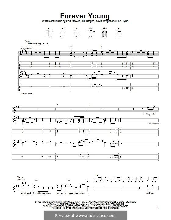 Forever Young II: Für Gitarre mit Tabulatur by Bob Dylan, Jim Cregan, Kevin Savigar, Rod Stewart