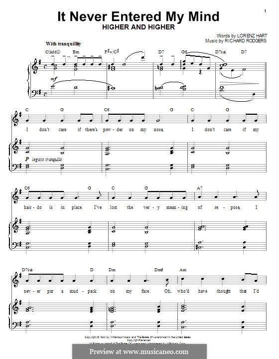 It Never Entered My Mind: Für Stimme und Klavier (oder Gitarre) by Richard Rodgers