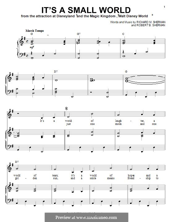 It's a Small World (from Disneyland Park and Magic Kingdom Park): Für Stimme und Klavier (oder Gitarre) by Richard M. Sherman, Robert B. Sherman
